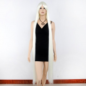 STfantasy White Display Female Mannequin Wigs extra-long Straight Synthetic Hair Blunt Bang Peluca 150cm 455g