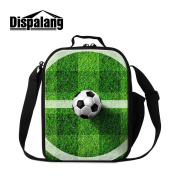 Dispalang Soccer Print Insulated Lunch Bags for Children Cool Small Cooler Bags Kids