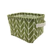 Mziart Geometric Pattern Small Storage Basket with Handle, Foldable Cotton Fabric Storage Organiser Box Cubes Bins for Nursery Babies Room