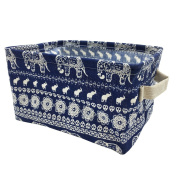Mziart Cotton Linen Small Foldable Storage Basket with Handle, Multifunctional Sundry Cosmetic Storage Organiser Box for Home Closet Toys Office Desktop