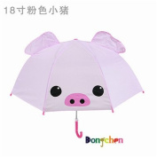 Kids Umbrella, Rainproof Childrens Rain Umbrella Fashion design for Boys and Girls with 3D Ears --Pink pig
