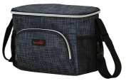 Vocni Baby Stroller Organiser Bag Cup Holders Cellphone holder Mesh Nappy Pocket Zip-off Pouch Large Space Capacity For Moms Navy Blue