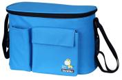 Vocni Baby Stroller Organiser Bag Cup Holders Cellphone holder Nappy Pocket Inside Insulation Zip-off Pouch Large Space Capacity Messenger Shoulder Bag Light Blue