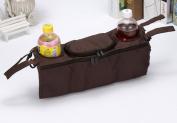 Skyseen Stroller Organiser Bag with Hook and loop - Extra Storage Space, Universal Fit, Cup Holders,Brown