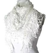 HugeStore Women Ladies Elegant Lace Tassel Blending Silk Long Scarf Scarves Wrap Shawl Triangular Scarf