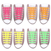 RUNACC Fashion Silicone Shoelaces Elastic No Tie Shoelaces Waterproof Shoe Laces for Casual Shoes, Board Shoes and More