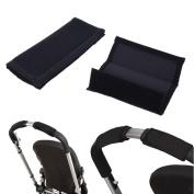KLOUD City Black Single Bar Grip Handle Covers Sleeve for Stroller Pram Buggy Handlebars with Hook and loop