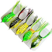 ZIYUO Fishing Baits,5 Hollow Body Topwater Frogs Fishing Lures Baits With Hooks