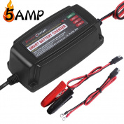 LST 12V 5AMP Vehicle Battery Charger Maintainer Smart Fast Waterproof with 4 Stages Charging for All Types of ATV Lawn Mower Motorcycle Automotive Marine RV AGM Gel cell Batteries