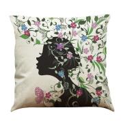 "Voberry Dream Butterfly Girl Cotton Linen Decorative Throw Pillow Cover (Multicolor,45 x 45cm/18x18"")"