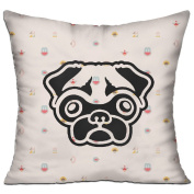 Cute Pug Dog Face Casual Pillow Living Room 18 18 Decorative Cushion Cover Pillow