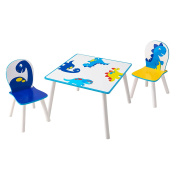 HelloHome Dinosaurs Kids Table And 2 Chairs Set, Wood, multicolour
