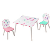 HelloHome Flowers And Birds Kids Table And 2 Chairs Set, Wood, multicolour