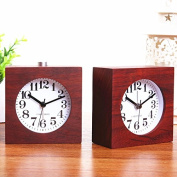 Red Rosewood Wood Square Modern Personality Bedroom Bedside Table Desktop Alarm Clock 7.6cm Birthday Christmas Gift