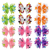 Ribbon Twisted Barettes and Hair Clips for Girls Toddlers and Babies -6 Pairs & 11cm