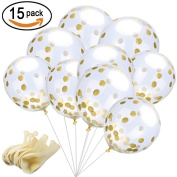 SOTOGO 15 Pieces Party Balloons 30cm Gold Confetti Balloons With Golden Paper Confetti Dots For Party Decorations Wedding Decorations And Proposal