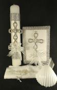 Espirito Santo White Decorated Silver Holy Baptism Candle Set For Boy/Girl . En EspAnol.. Velapara Bautizo