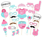 It's A Girl Baby Shower Party Photo Booth Props Kits on Sticks Set of 25pcs