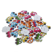 Doober 50Pcs 2 Holes Cute Car Wooden Buttons Handmade Sewing Scrapbooking DIY Craft