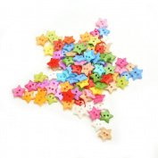 100 Pcs Plastic Buttons 6 Shapes for DIY Sewing Clothes Button Crafts Scrapbooking Supplies-1cm ,Star