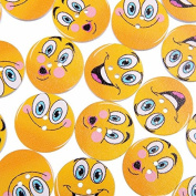 10 Multi Coloured Emoji Shaped 2.5cm Assorted 2 Hole Painted Wooden Buttons for Sweaters or Crafts B12715G