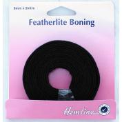 Hemline H696.8.B   Black 100% Cotton Featherlite Boning 8mm x 2m