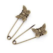 GIONO 10 PCS Jewellery Making Charms Butterfly Bronze Brooch Safety Pins Alloy Vintage DIY Accessories