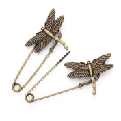 GIONO 10 PCS Bronze Dragonfly Brooch Safety Pins Alloy Vintage DIY Jewellery Accessories