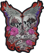 [Large Size] Papapatch Lethal Angel Skull Pink Roses Wings Star Biker Punk Ride Chopper Motorcycle Costume Jacket Vest Back DIY Embroidered Applique Sew Iron on Patch