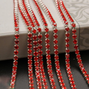 USIX 10 Yards Crystal Rhinestone Close Chain Trimming Claw Chain Multi Size Colour Rhinestone Chain for DIY Arts Craft Sewing Jewellery Making, Red-Silver Chain, SS12/3.0MM