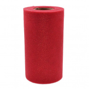 BetterUS Tulle Roll Shining Polyester and Yarn for Home Decoration Party Wedding DIY Package Red