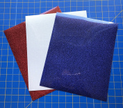 Siser Glitter Iron On Heat Transfer 3 25cm x 30cm Sheets, Red, Rainbow White, Royal Blue
