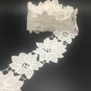 ELLA MAMA Crocheted Lace Trim DIY Craft Ribbon 5.1cm x 3yds, Flora Flower Pattern Thick Quality
