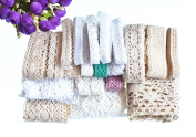 RayLineDo 20 Metres Assorted Vintage Style Cotton Lace Ribbon Trim Bridal Wedding Scalloped Edge Crochet Lace DIY Sewing Accessory Collection A