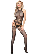 Lucklovell Women Sexy Flirt Black High Neck Bodystocking