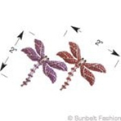 Large 5.1cm x 5.1cm Silver Rhinestone Dragonfly With Red Stones 2 Per Pack