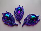 20pcs new fashion style sew on crystal purple rhinestones flatback leaf shape handsewing gem stones 25x50mm