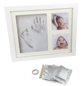 UMIGAL BABY HAND and FOOTPRINT PICTURE FRAME KIT. Perfect Gifts for Registry, Memorable Keepsakes Decorations for Room Wall or Table Decor, Premium Clay & Wood Frames