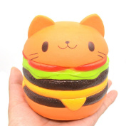 MIMIEYES Slow Rising Squishies Jumbo Squishy Hamburger Cat Soft Fun Doll, Hand Pillow Stress Relief Toy