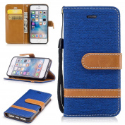 iphone SE 5 5S Case,iphone SE 5 5S Case Cover, cosy HUT [Wallet Case] Premium Soft PU Leather Notebook Wallet Cowboy Design Case with [Kickstand] Stand Function Card Holder and ID Slot Slim Flip Protective Skin Cover for iphone SE 5 5S - Blue cowboy