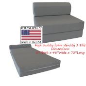 Grey Sleeper Chair Folding Foam Bed 6 x 120cm x 180cm , Studio Guest Beds, Sofa.