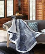 Virah Bella Montana Cabin Blue/ Grey Quilt Throw with Sherpa Backing