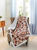 Virah Bella Shanti Flower Print Debra Valencia Quilt Throw with Sherpa Backing - Terracotta / Ivory