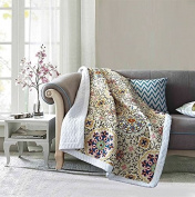 Virah Bella Mudra by Debra Valencia Quilt Throw with Sherpa Backing
