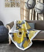 Flower Print Quilt Throw with Sherpa Blanket Francesca