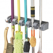 Broom Holder Wall Mounted 5 Position with 6 Hooks Mop Hanger Garden Tool Rack Garage Storage Kitchen Tool Organiser