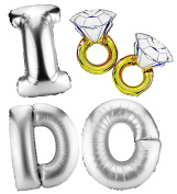 """Silver """"I Do"""" & Diamond Engagement Ring Mylar Balloons (5-Balloon Set); Includes I-D-O Silver Letter Balloons & 2 Big Ring Balloons; for Wedding & Engagement Decor, Photo Props, Etc"""