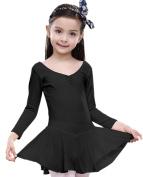 FEOYA Girls Dance Ballet Leotard Cotton Blend Long Sleeve Dancing Dress