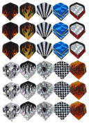 Taloyer Pack of 30pcs Plastic Dart Flights Nice Dart Wings Tails Accessories Assorted Designs