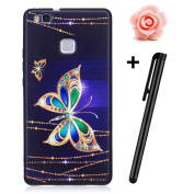 Huawei P9 Lite Case,Huawei P9 Lite Matte Cover,TOYYM Ultra Slim 3D Animal Flower Pattern Design Anti-Scratch Shockproof Silicone Soft TPU Bumper Case Matte Black Gel Rubber Protective Back Case Cover Skin for Huawei P9 Lite-Gold Butterfly